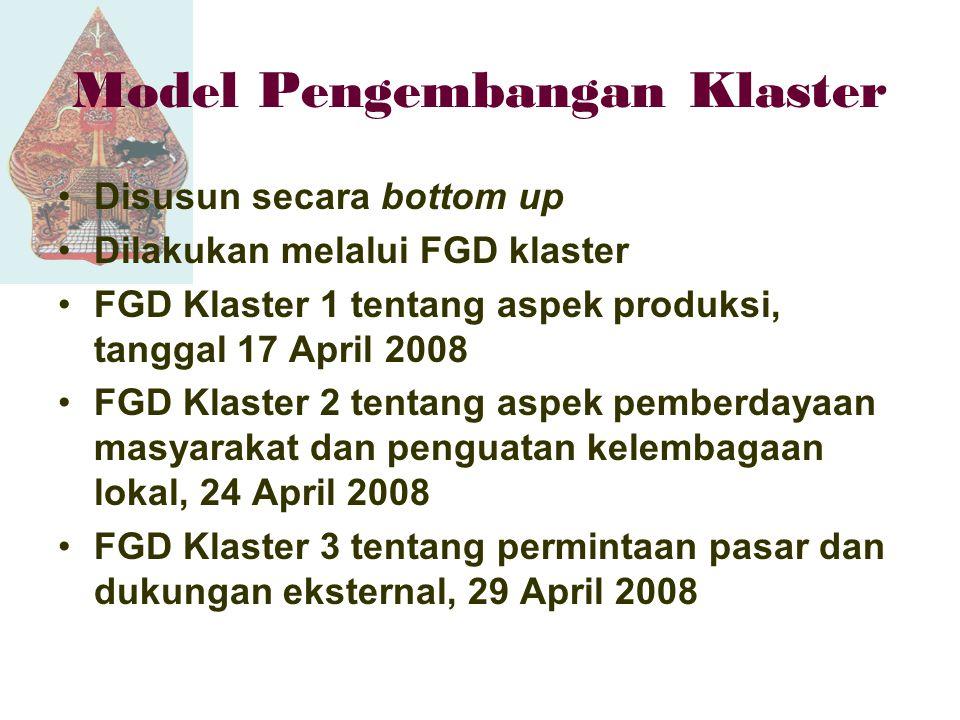 Model Pengembangan Klaster Disusun secara bottom up Dilakukan melalui FGD klaster FGD Klaster 1 tentang aspek produksi, tanggal 17 April 2008 FGD Klaster 2 tentang aspek pemberdayaan masyarakat dan penguatan kelembagaan lokal, 24 April 2008 FGD Klaster 3 tentang permintaan pasar dan dukungan eksternal, 29 April 2008
