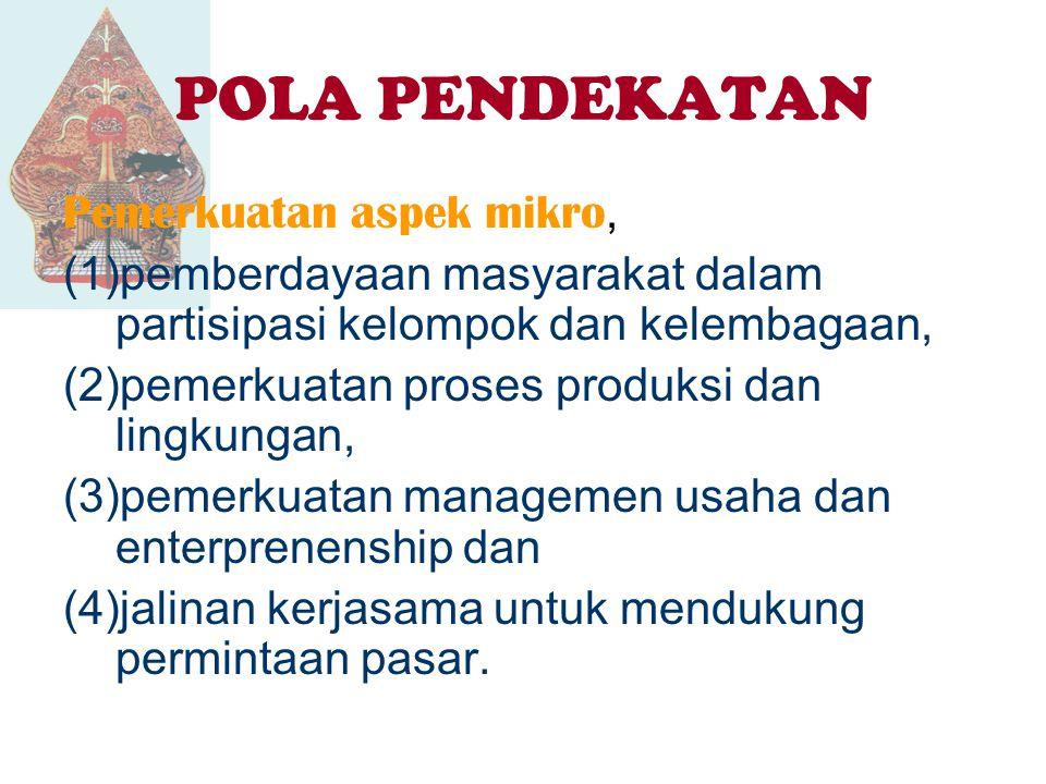 POLA PENDEKATAN Pemerkuatan aspek makro, (1)pemerkuatan Forum For Economic Development and Promotion (FEDEP) sebagai Forum Pengembangan Ekonomi Lokal di Tingkat Kabupaten/Kota di Jawa Tengah, (2)penumbuhan iklim usaha kondusif dan (3)pemerkuatan jasa provider sebagai agen-agen pembangunan daerah.