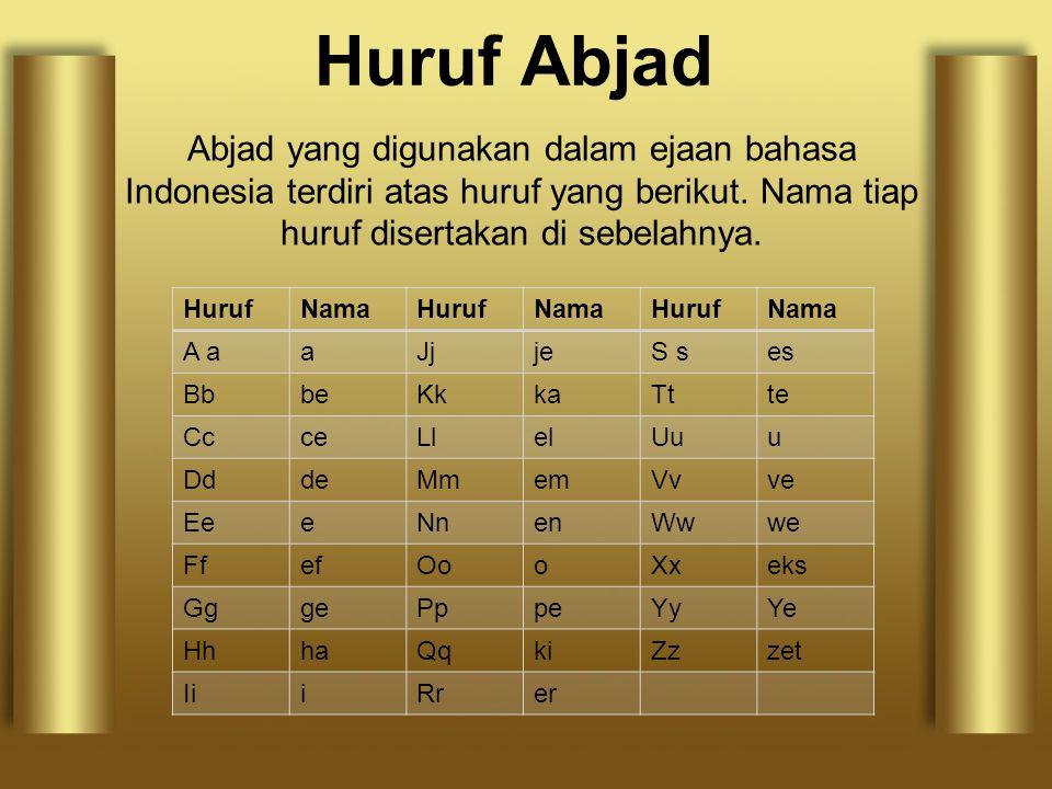 Huruf Abjad Abjad yang digunakan dalam ejaan bahasa Indonesia terdiri atas huruf yang berikut. Nama tiap huruf disertakan di sebelahnya. HurufNamaHuru