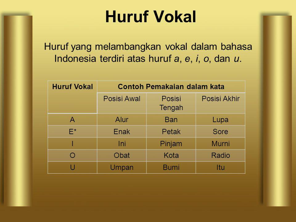 Huruf Vokal Huruf yang melambangkan vokal dalam bahasa Indonesia terdiri atas huruf a, e, i, o, dan u. Huruf VokalContoh Pemakaian dalam kata Posisi A