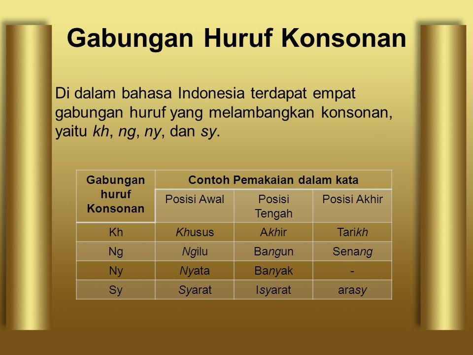 Gabungan Huruf Konsonan Di dalam bahasa Indonesia terdapat empat gabungan huruf yang melambangkan konsonan, yaitu kh, ng, ny, dan sy. Gabungan huruf K