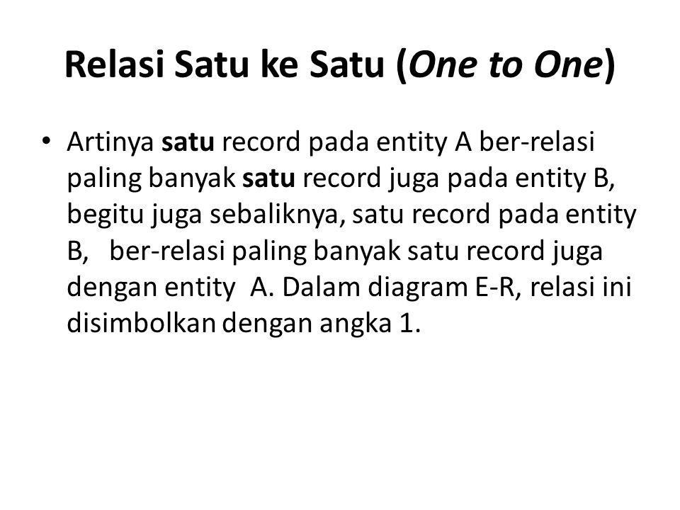 Relasi Satu ke Satu (One to One) Artinya satu record pada entity A ber-relasi paling banyak satu record juga pada entity B, begitu juga sebaliknya, sa