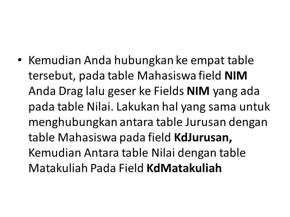Kemudian Anda hubungkan ke empat table tersebut, pada table Mahasiswa field NIM Anda Drag lalu geser ke Fields NIM yang ada pada table Nilai. Lakukan