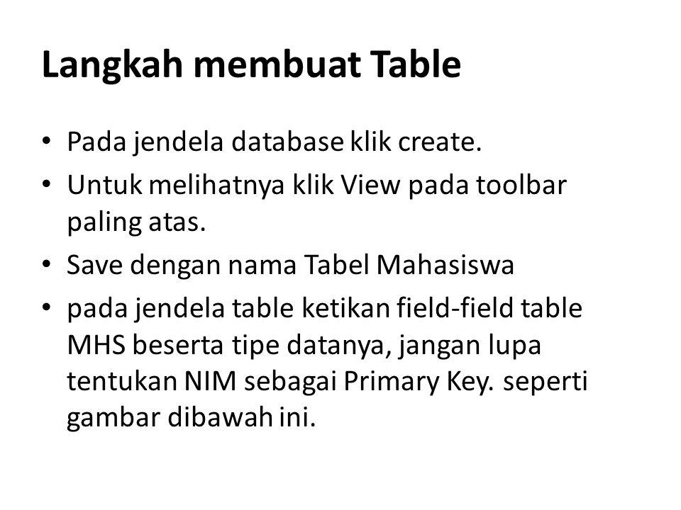 Langkah membuat Table Pada jendela database klik create. Untuk melihatnya klik View pada toolbar paling atas. Save dengan nama Tabel Mahasiswa pada je