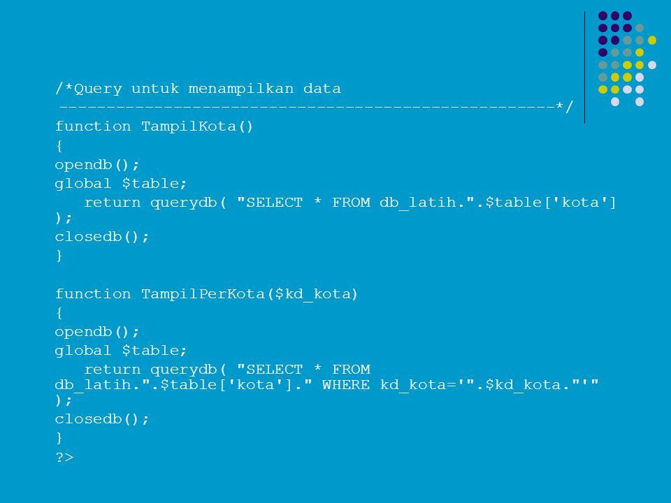 /*Query untuk menampilkan data ----------------------------------------------------*/ function TampilKota() { opendb(); global $table; return querydb(