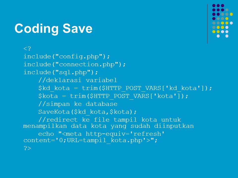 Coding Save <.
