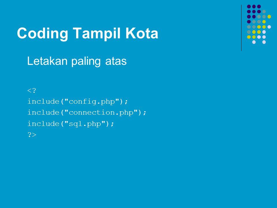 Coding Tampil Kota Letakan paling atas <? include(