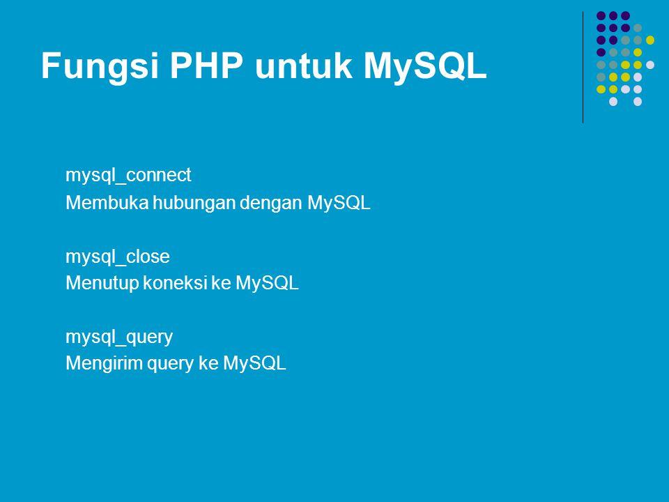 Fungsi PHP untuk MySQL mysql_connect Membuka hubungan dengan MySQL mysql_close Menutup koneksi ke MySQL mysql_query Mengirim query ke MySQL