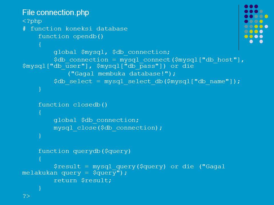 File connection.php <?php # function koneksi database function opendb() { global $mysql, $db_connection; $db_connection = mysql_connect($mysql[ db_host ], $mysql[ db_user ], $mysql[ db_pass ]) or die ( Gagal membuka database! ); $db_select = mysql_select_db($mysql[ db_name ]); } function closedb() { global $db_connection; mysql_close($db_connection); } function querydb($query) { $result = mysql_query($query) or die ( Gagal melakukan query = $query ); return $result; } ?>