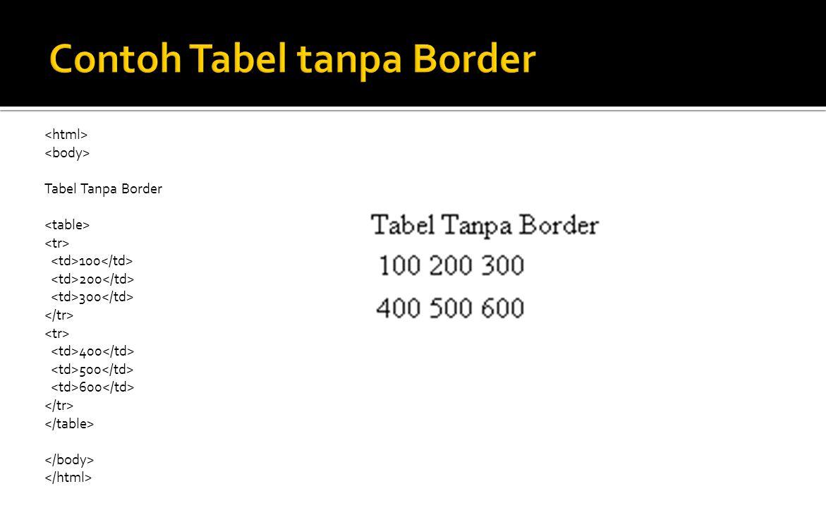 Tabel Tanpa Border 100 200 300 400 500 600