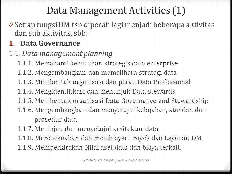 Functions and Activities (2) 0 Ada 10 komponen fungsi DM seperti yang terlihat pada gambar 1.3 (slide9):slide9 0 Data governance->high level planning