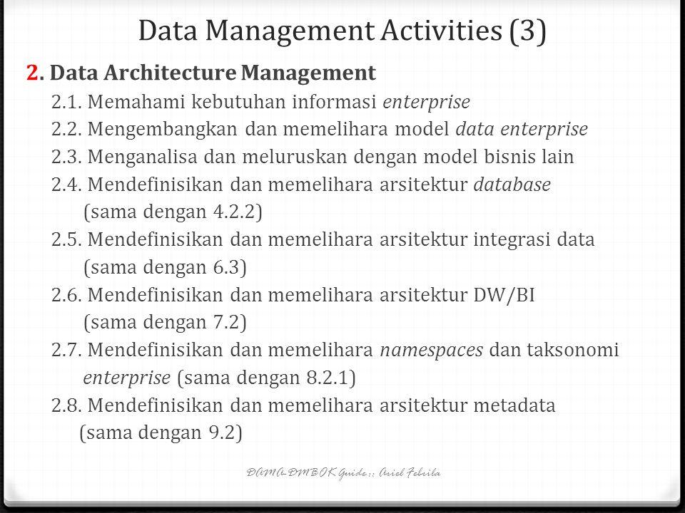 Data Management Activities (2) 1.2. Data management control 1.2.1. Mengawasi staf dan organisasi Data Professional 1.2.2. Mengoordinasikan aktivitas d