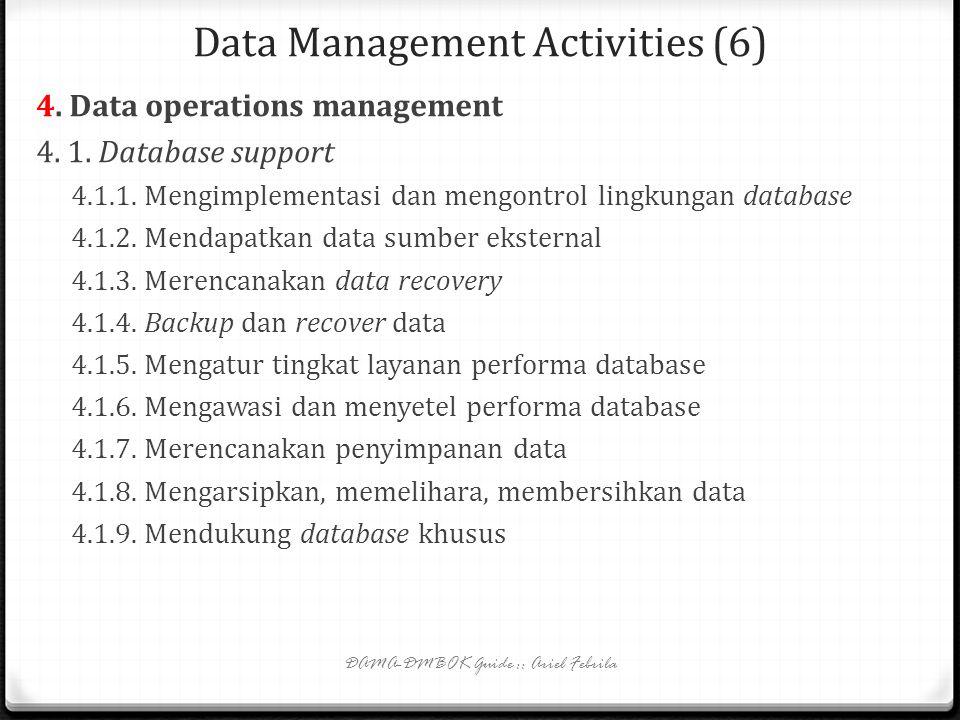 Data Management Activities (5) 3.3. Data model and design quality management 3.3.1. Mengembangkan pemodelan data dan desain standar 3.3.2. Meninjau mo