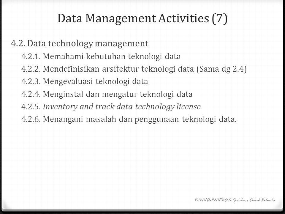 Data Management Activities (6) 4. Data operations management 4. 1. Database support 4.1.1. Mengimplementasi dan mengontrol lingkungan database 4.1.2.