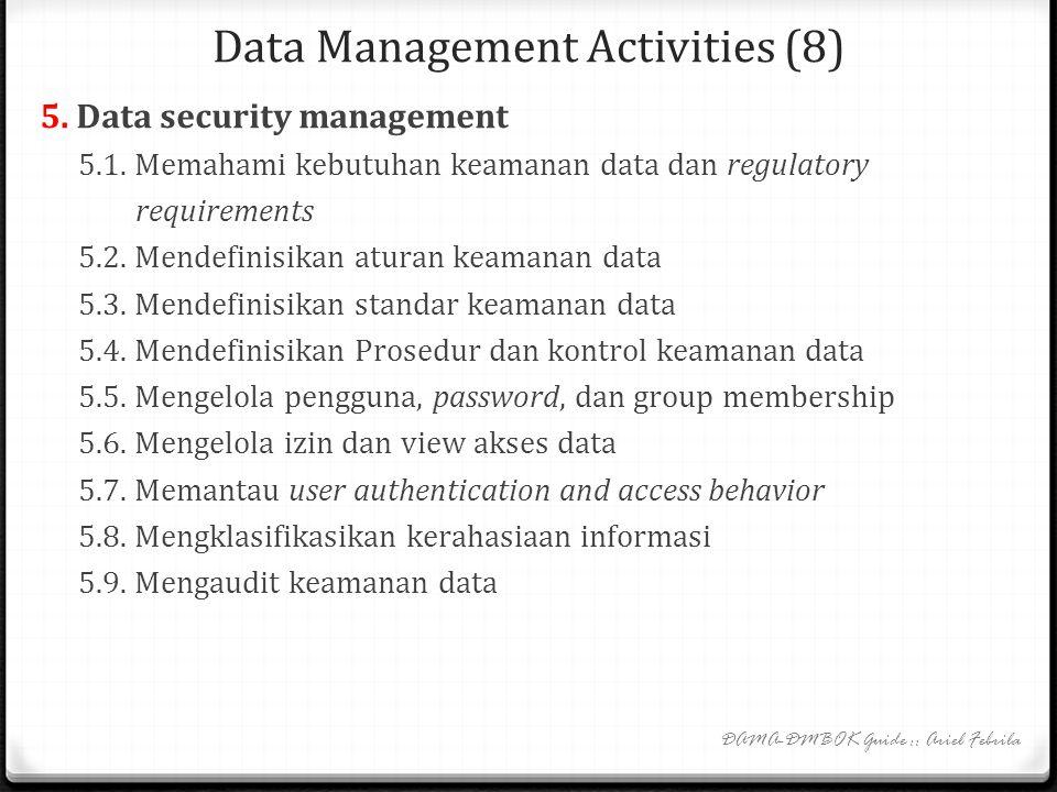 Data Management Activities (7) 4.2. Data technology management 4.2.1. Memahami kebutuhan teknologi data 4.2.2. Mendefinisikan arsitektur teknologi dat