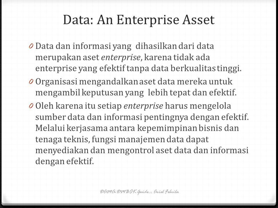 Data Stewardship (4) 0 Tanggung jawab data stewardship di dalam fungsi2 DM (contd): 0 Data security management: business data steward menyediakan kebutuhan keamanan, privasi, dan kerahasiaan; mengidentifikasi dan memecahkan masalah keamanan data; membantu audit keamanan data; dan mengklasifikasikan kerahasiaan informasi dalam dokumen dan produk informasi lainnya.