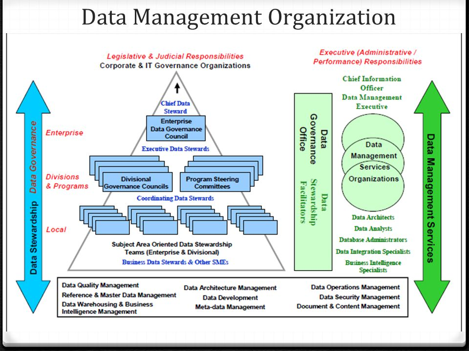 3. Concepts and Activities 0 Data governance 0 Data stewardship 0 Data governance and stewardship organization 0 Data management services organization