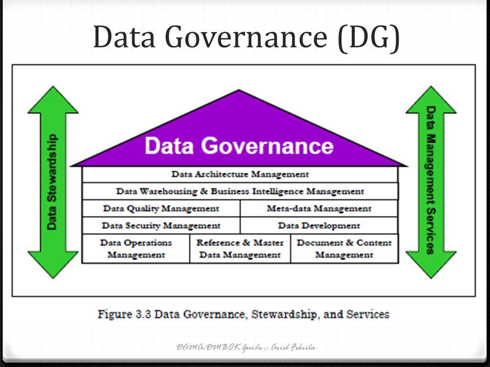 Data Governance (DG) 0 DG terlaksana paling efektif sebagai program yang berlangsung terus menerus dan proses peningkatan yang tanpa henti. 0 DG berbe