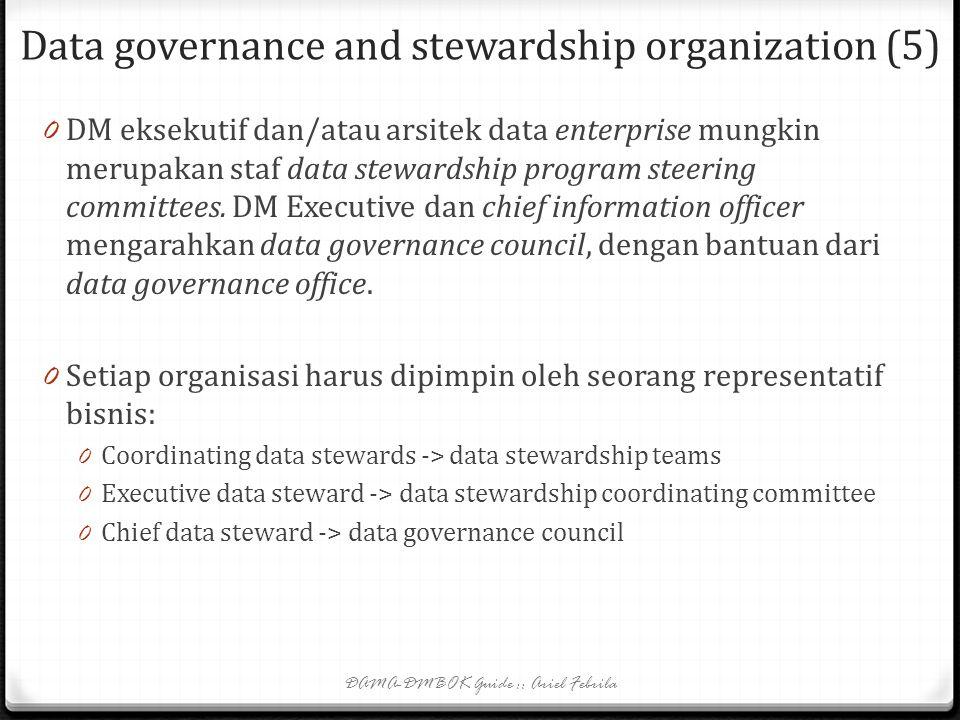 Data governance and stewardship organization (4) 0 Hal-hal yang ditangani organisasi data governance: 0 Masalah: keamanan data, akses data, kualitas d