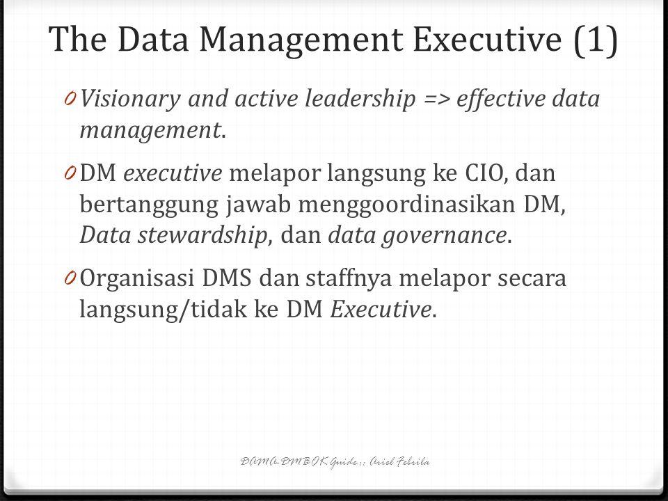 Data Management Services Organization (2) 0 DMS bisa berisi: arsitek data, analis data, data modelers, analis kualitas data, administrator database, a