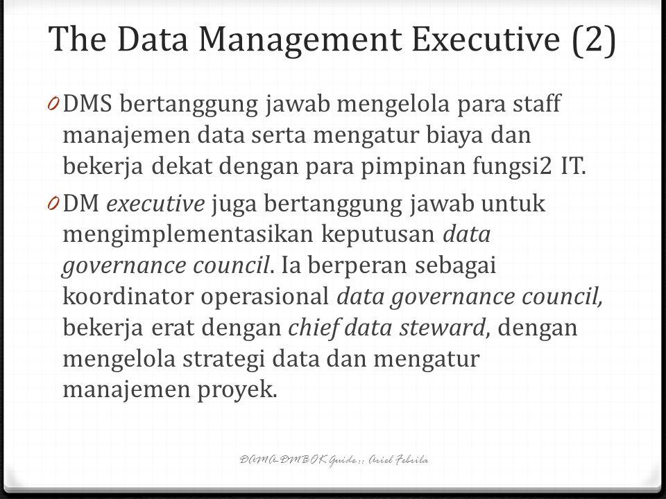 The Data Management Executive (1) 0 Visionary and active leadership => effective data management. 0 DM executive melapor langsung ke CIO, dan bertangg