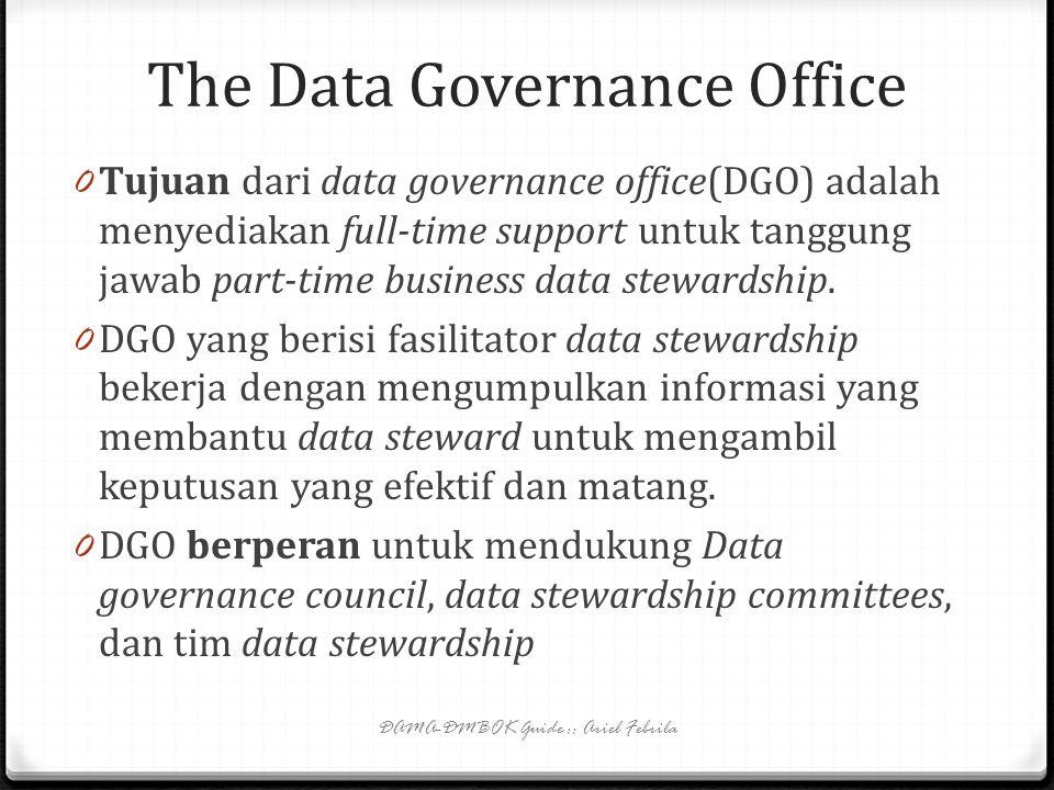 The Data Management Executive (2) 0 DMS bertanggung jawab mengelola para staff manajemen data serta mengatur biaya dan bekerja dekat dengan para pimpi