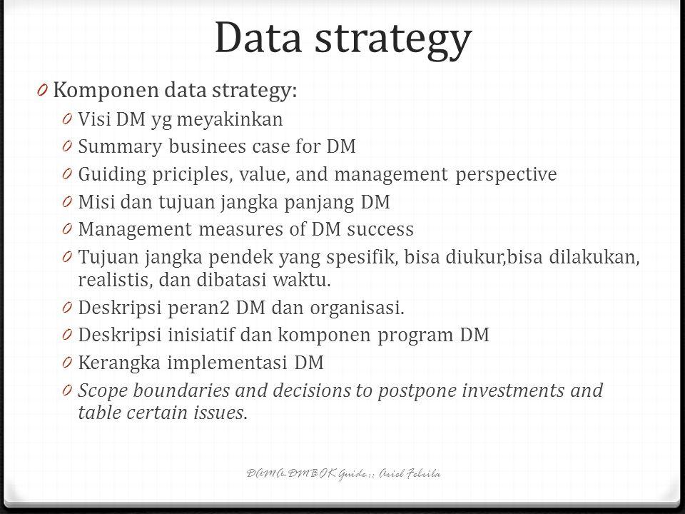 Data Strategy 0 Data strategy => strategi manajemen data—sebuah rencana untuk mengelola dan meningkatkan kualitas, integritas, keamanan, dan akses dat