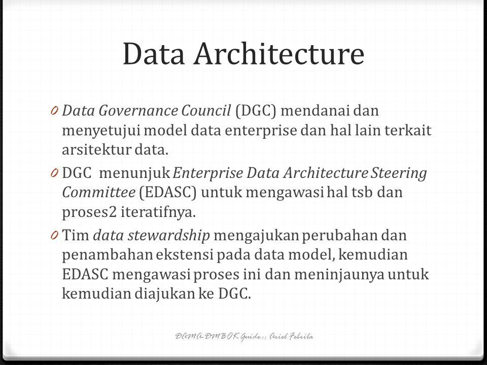 Data Policies 0 Data policies bisa mencakup topik2: 0 aktivitas pengembangan data dalam SDLC; 0 ekspektasi kualitas data; 0 keamanan data; 0 recovery