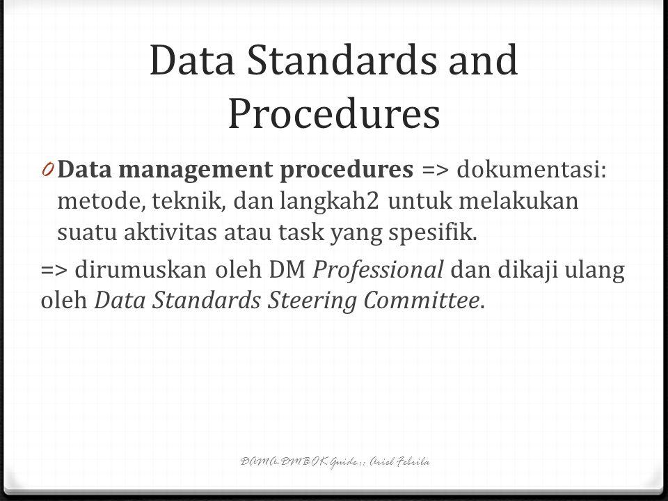 Data Standards and Procedures 0 Data standard and guidelines mencakup standar penamaan, standar spesifikasi kebutuhan, standar pemodelan data, standar