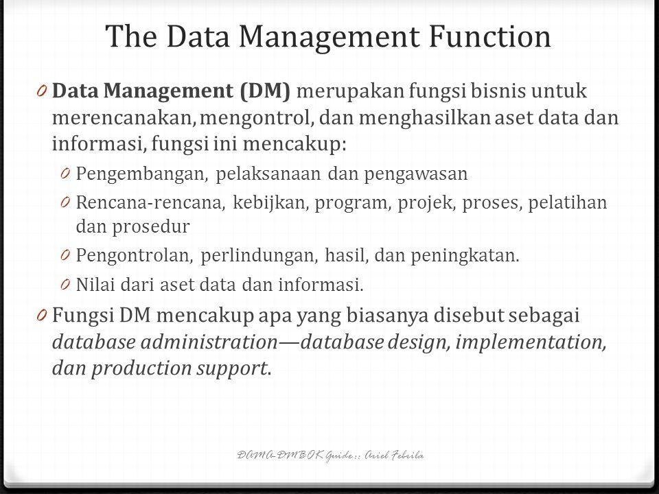 The Data Management Function DAMA-DMBOK Guide :: Ariel Febrila 0 Data Management (DM) merupakan fungsi bisnis untuk merencanakan, mengontrol, dan menghasilkan aset data dan informasi, fungsi ini mencakup: 0 Pengembangan, pelaksanaan dan pengawasan 0 Rencana-rencana, kebijkan, program, projek, proses, pelatihan dan prosedur 0 Pengontrolan, perlindungan, hasil, dan peningkatan.