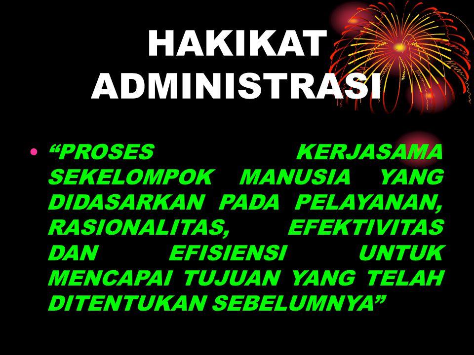MAKNA ADMINISTRASI ADMINISTRASI  AD + MINISTRARE  TO + SERVE  MELAYANI  KONOTASI PEKERJAAN PEMBANTU  TEKNIS KETATAUSAHAAN (ADMINISTRASI DLM ARTI