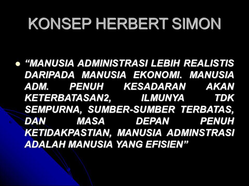 KONSEP HERBERT SIMON MANUSIA ADMINISTRASI LEBIH REALISTIS DARIPADA MANUSIA EKONOMI.
