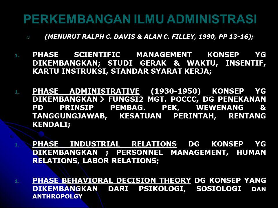 PERKEMBANGAN ILMU ADMINISTRASI  (MENURUT RALPH C.