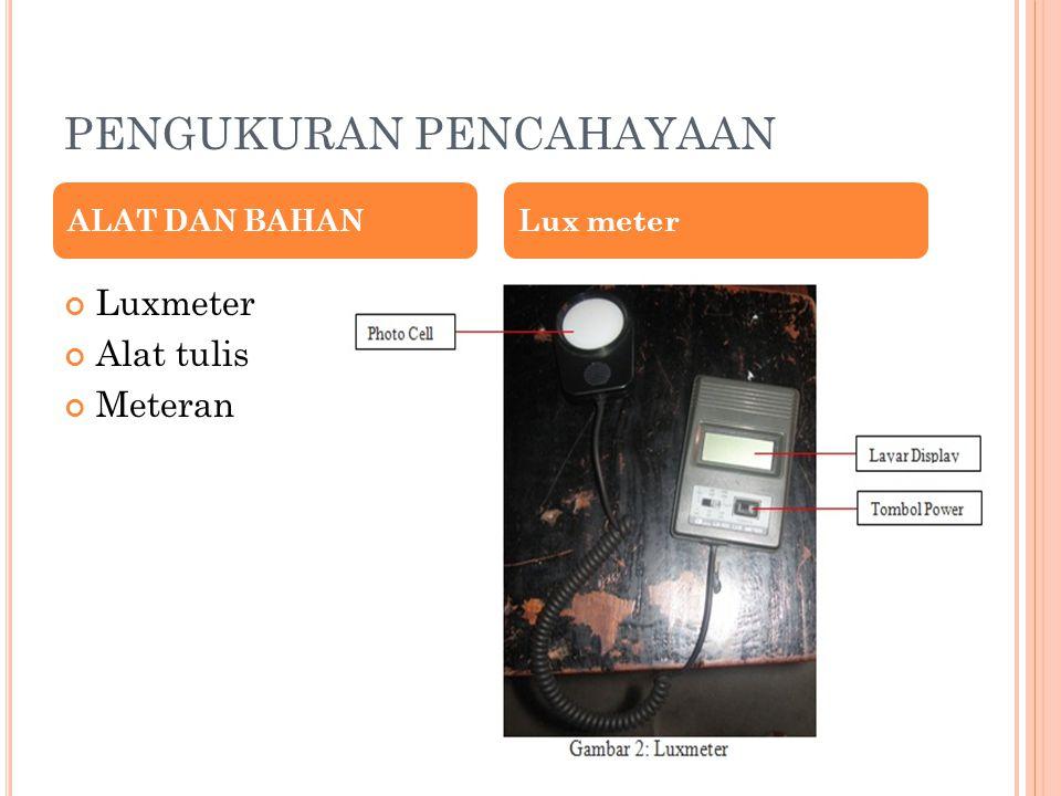 PENGUKURAN PENCAHAYAAN Luxmeter Alat tulis Meteran ALAT DAN BAHANLux meter