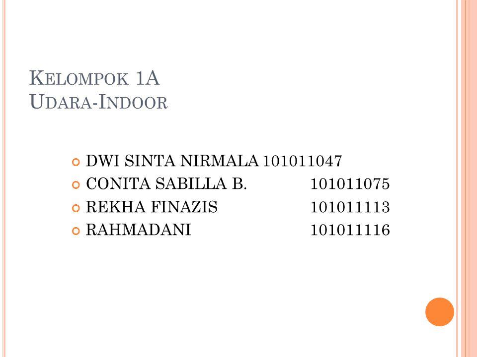 K ELOMPOK 1A U DARA -I NDOOR DWI SINTA NIRMALA101011047 CONITA SABILLA B.101011075 REKHA FINAZIS101011113 RAHMADANI101011116