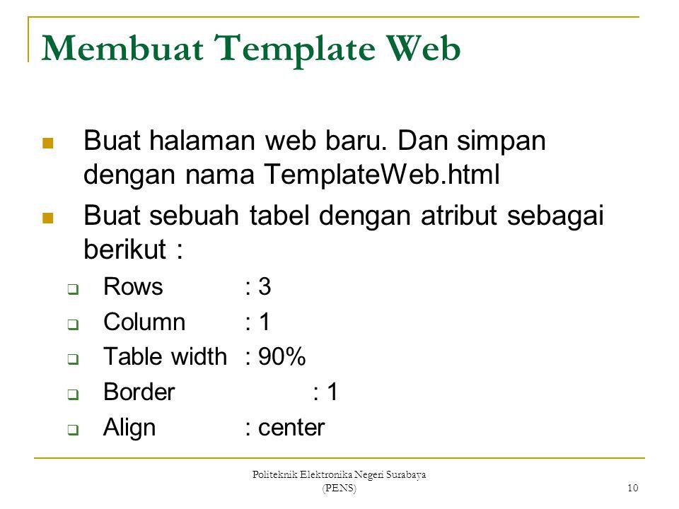 Politeknik Elektronika Negeri Surabaya (PENS) 10 Membuat Template Web Buat halaman web baru. Dan simpan dengan nama TemplateWeb.html Buat sebuah tabel
