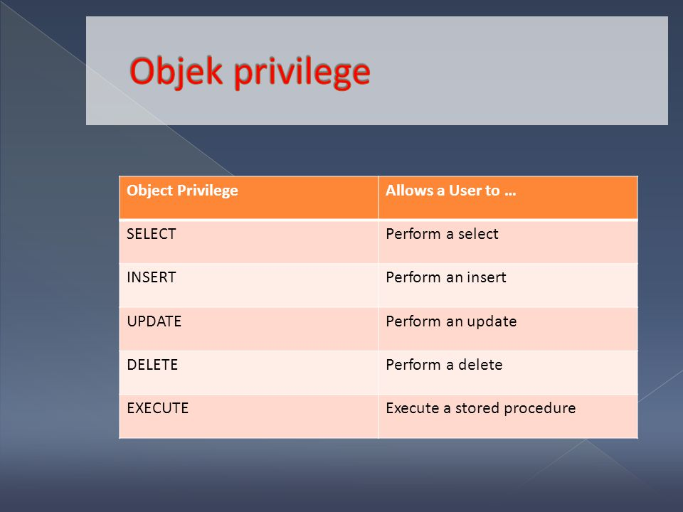 Object PrivilegeAllows a User to … SELECTPerform a select INSERTPerform an insert UPDATEPerform an update DELETEPerform a delete EXECUTEExecute a stor