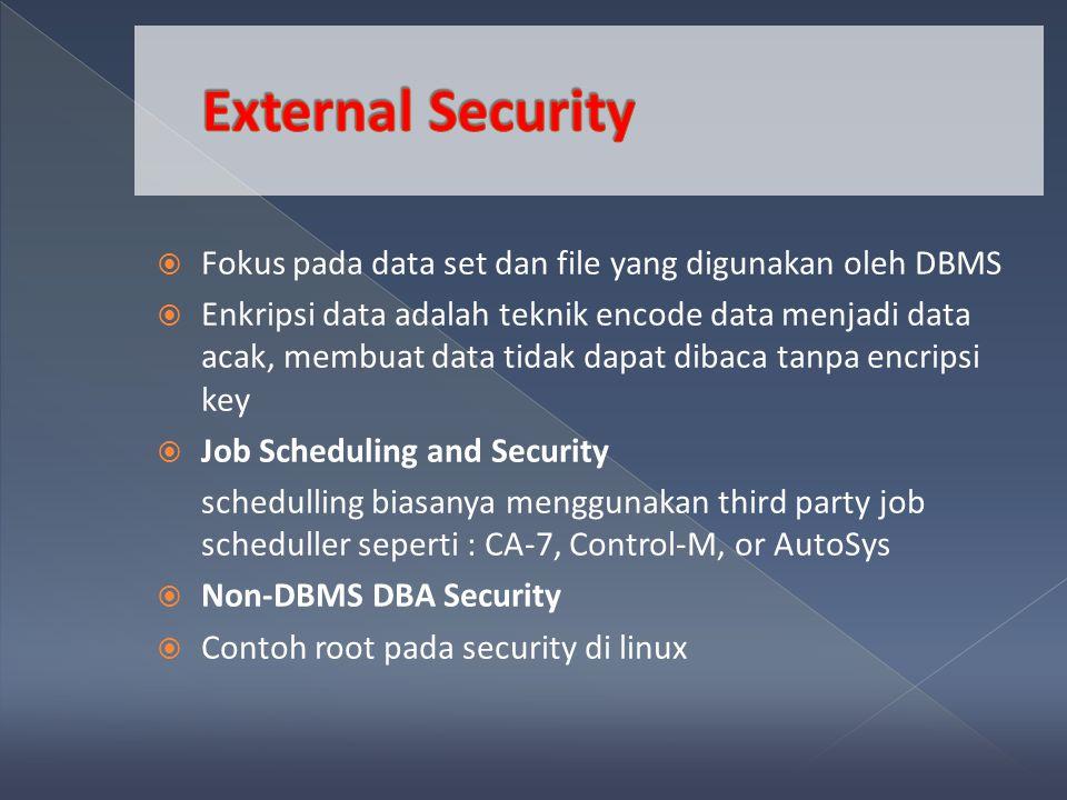  Fokus pada data set dan file yang digunakan oleh DBMS  Enkripsi data adalah teknik encode data menjadi data acak, membuat data tidak dapat dibaca tanpa encripsi key  Job Scheduling and Security schedulling biasanya menggunakan third party job scheduller seperti : CA-7, Control-M, or AutoSys  Non-DBMS DBA Security  Contoh root pada security di linux