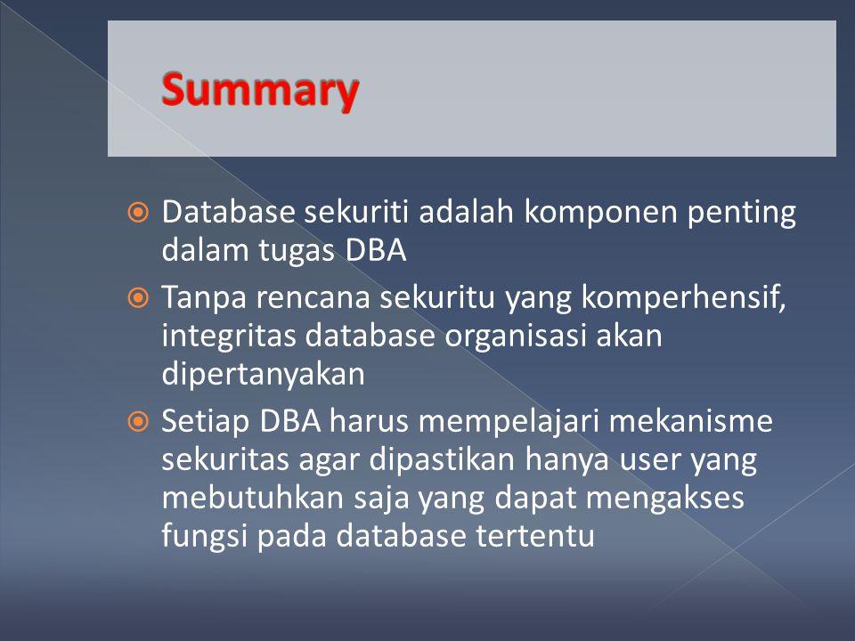  Database sekuriti adalah komponen penting dalam tugas DBA  Tanpa rencana sekuritu yang komperhensif, integritas database organisasi akan dipertanyakan  Setiap DBA harus mempelajari mekanisme sekuritas agar dipastikan hanya user yang mebutuhkan saja yang dapat mengakses fungsi pada database tertentu
