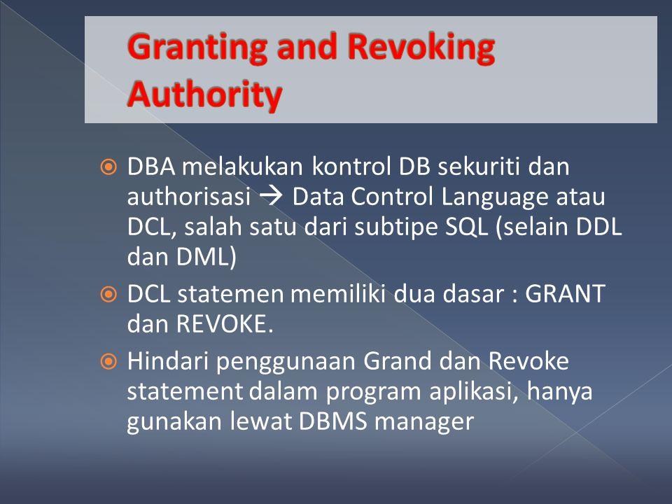 DBA melakukan kontrol DB sekuriti dan authorisasi  Data Control Language atau DCL, salah satu dari subtipe SQL (selain DDL dan DML)  DCL statemen memiliki dua dasar : GRANT dan REVOKE.