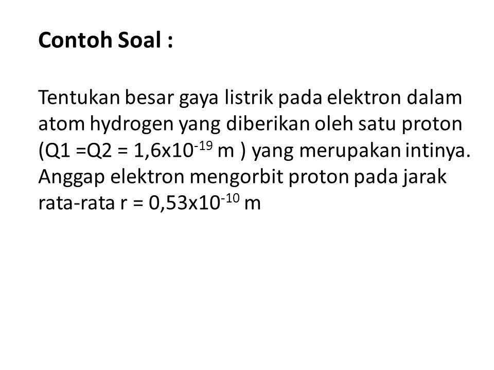Contoh Soal : Tentukan besar gaya listrik pada elektron dalam atom hydrogen yang diberikan oleh satu proton (Q1 =Q2 = 1,6x10 -19 m ) yang merupakan in