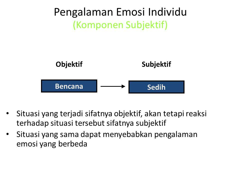 Pengalaman Emosi Individu (Komponen Subjektif) Situasi yang terjadi sifatnya objektif, akan tetapi reaksi terhadap situasi tersebut sifatnya subjektif