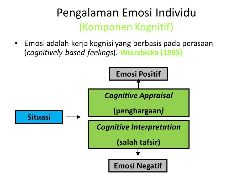 Pengalaman Emosi Individu (Komponen Kognitif) Emosi adalah kerja kognisi yang berbasis pada perasaan (cognitively based feelings). Wierzbicka (1995) E