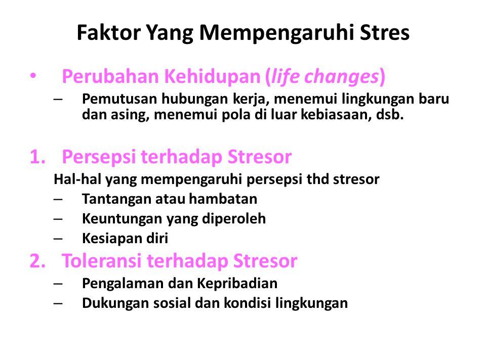 Faktor Yang Mempengaruhi Stres Perubahan Kehidupan (life changes) – Pemutusan hubungan kerja, menemui lingkungan baru dan asing, menemui pola di luar