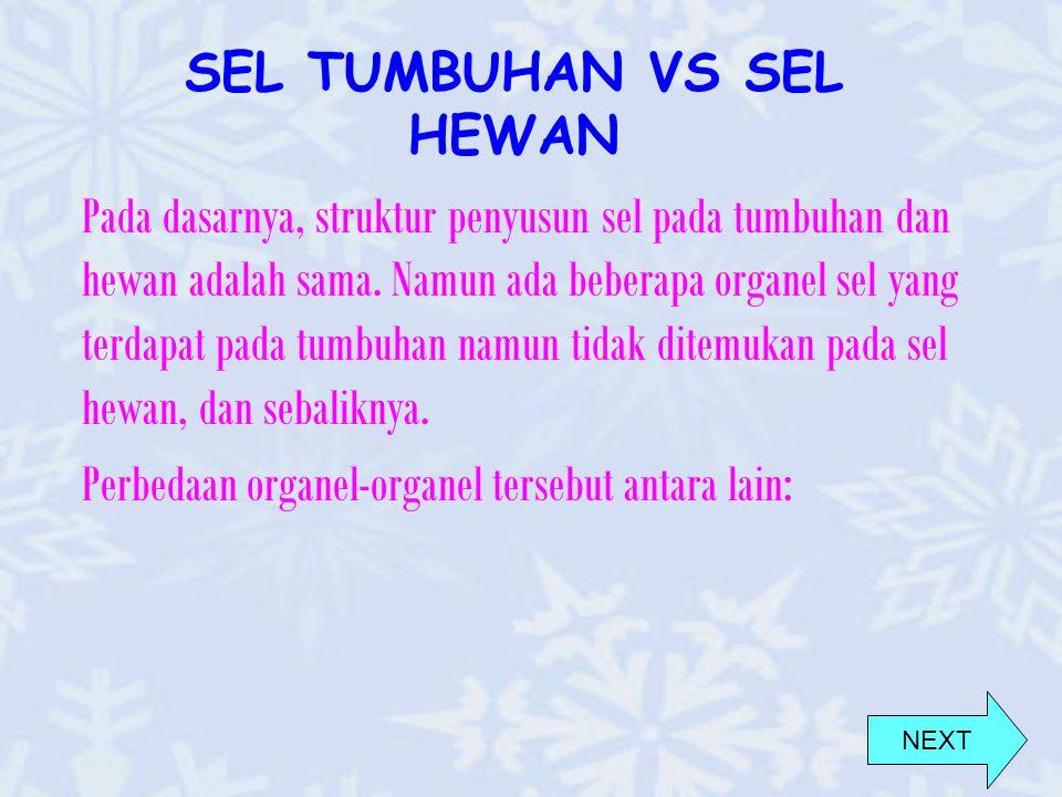 SEL TUMBUHAN VS SEL HEWAN Pada dasarnya, struktur penyusun sel pada tumbuhan dan hewan adalah sama.