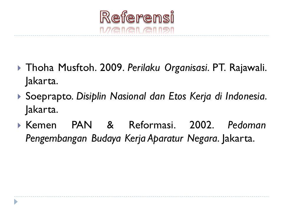  Thoha Musftoh.2009. Perilaku Organisasi. PT. Rajawali.