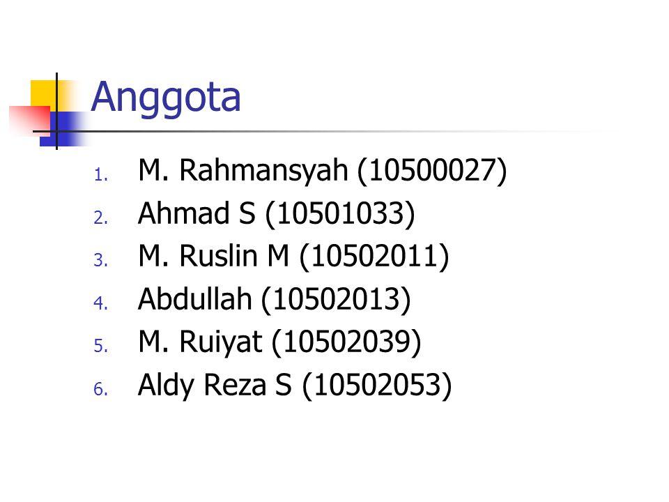 Anggota 1. M. Rahmansyah (10500027) 2. Ahmad S (10501033) 3. M. Ruslin M (10502011) 4. Abdullah (10502013) 5. M. Ruiyat (10502039) 6. Aldy Reza S (105