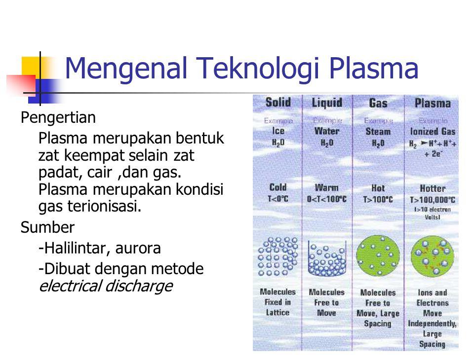 Mengenal Teknologi Plasma Pengertian Plasma merupakan bentuk zat keempat selain zat padat, cair,dan gas. Plasma merupakan kondisi gas terionisasi. Sum
