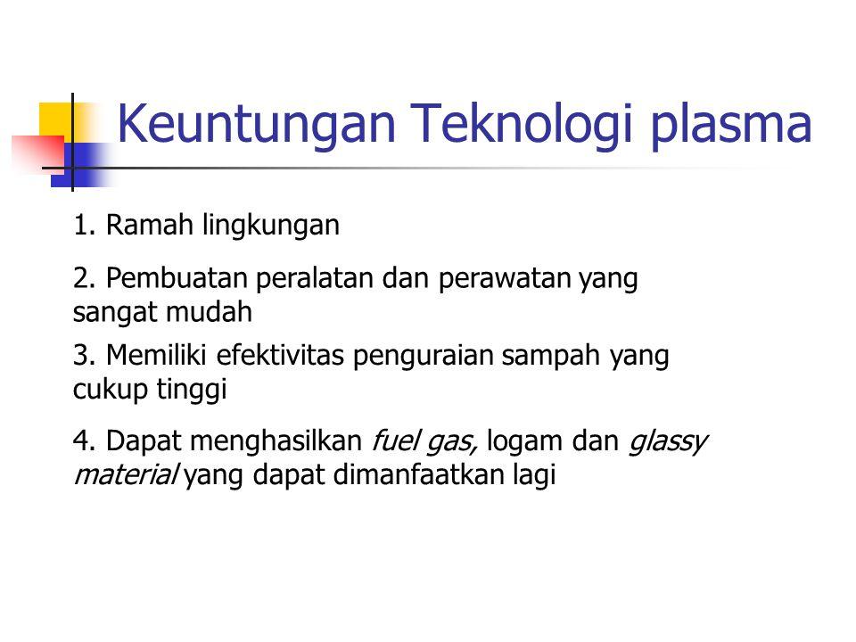 Keuntungan Teknologi plasma 1. Ramah lingkungan 2. Pembuatan peralatan dan perawatan yang sangat mudah 3. Memiliki efektivitas penguraian sampah yang