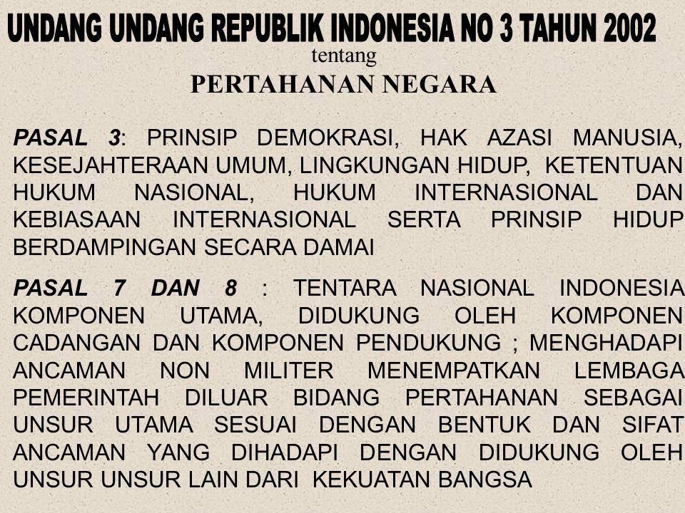 BAB XII : PERTAHANAN DAN KEAMANAN NEGARA PASAL 30 (2) USAHA PERTAHANAN DAN KEAMANAN NEGARA DILAKSANAKAN MELALUI SISTEM PERTAHANAN DAN KEAMANAN RAKYAT SEMESTA OLEH TENTARA NASIONAL INDONESIA DAN KEPOLISIAN NEGARA REPUBLIK INDONESIA SEBAGAI KEKUATAN UTAMA DAN RAKYAT SEBAGAI KEKUATAN PENDUKUNG (3) TENTARA NASIONAL INDONESIA TERDIRI ATAS ANGKATAN DARAT, ANGKATAN LAUT, DAN ANGKATAN UDARA SEBAGAI ALAT NEGARA BERTUGAS MEMPERTAHANKAN, MELINDUNGI, DAN MEMELIHARA KEUTUHAN DAN KEDAULATAN NEGARA; (4) KEPOLISIAN NEGARA REPUBLIK INDONESIA SEBAGAI ALAT NEGARA YANG MENJAGA KEAMANAN DAN KETERTIBAN MASYARAKAT BERTUGAS MELINDUNGI, MENGAYOMI, MELAYANI MASYARAKAT, SERTA MENEGAKKAN HUKUM